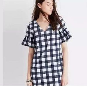 Madewell navy white plaid tunic dress Sz 00